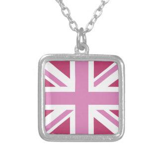pink uk flag,union jack,the union flag square pendant necklace