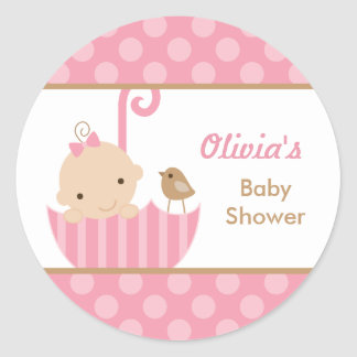Pink Umbrella Baby Girl Shower Stickers