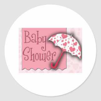 PInk Umbrella Baby Shower Classic Round Sticker