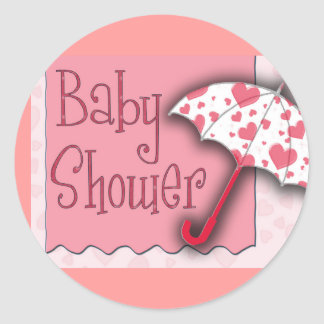 PInk Umbrella Baby Shower - Customized Classic Round Sticker