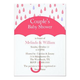 Pink Umbrella Baby Shower Invitation