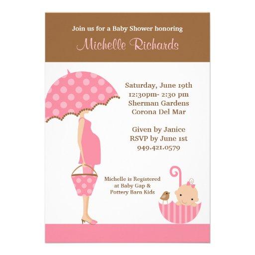pink umbrella baby shower invitation zazzle