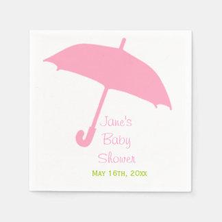 Pink Umbrella Baby Shower Napkins Standard Cocktail Napkin