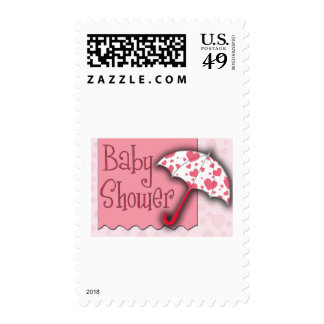 PInk Umbrella Baby Shower Postage