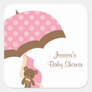 Pink Umbrella Baby Shower Stickers Stickers
