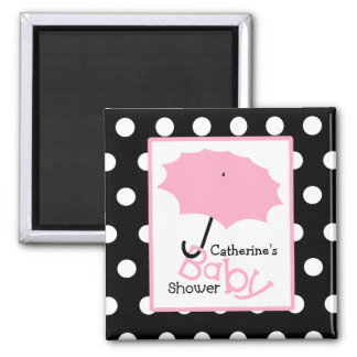 Pink Umbrella Baby Shower - White Polka Dots 2 Inch Square Magnet