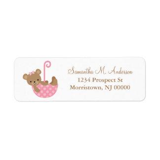 Pink Umbrella Bear Baby Shower Label