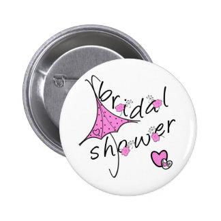 Pink Umbrella Bridal Shower Button