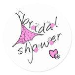 Pink Umbrella Bridal Shower Classic Round Sticker
