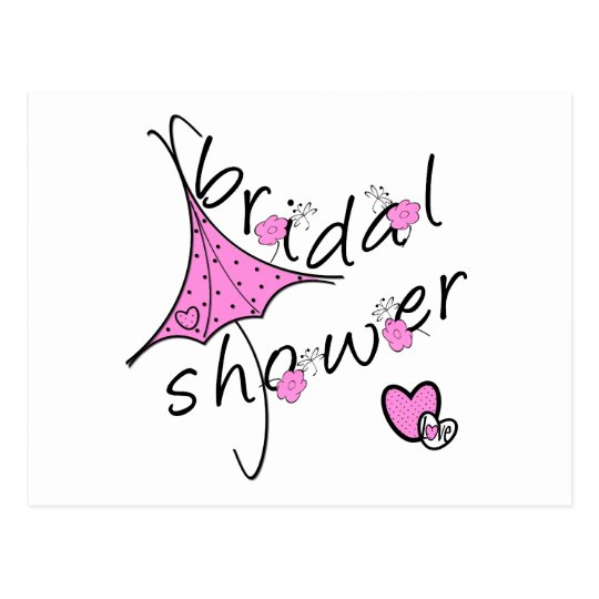 Pink Umbrella Bridal Shower Postcard