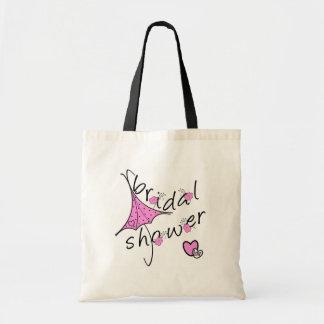 Pink Umbrella Bridal Shower Tote Bag