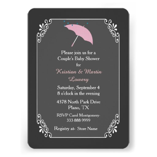 Pink Umbrella Couple's Baby Shower Invitation