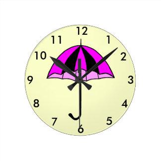 Pink, Umbrella, Custom Round (Medium) Wall Clock