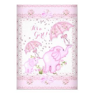 Pink Umbrella Elephant Calf Baby Shower Girl 5x7 Paper Invitation Card