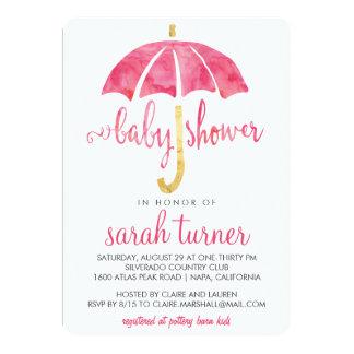 Pink Umbrella Girl Baby Shower Invitations
