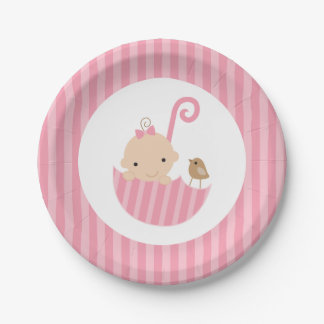 Pink Umbrella Girl Baby Shower 7 Inch Paper Plate
