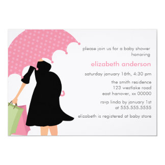Pink Umbrella Mom To Be Girl Baby Shower Card