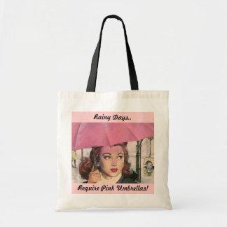 Pink Umbrella Rainy Day Fashions Bag SHOPPING TOTE