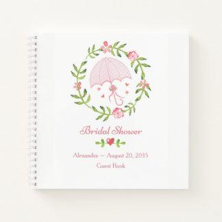 Pink Umbrella Wreath Bridal Shower Guest Book