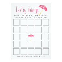 Pink Umbrellas Baby Shower Bingo Card Game