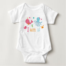 Pink Under the Sea 1st Birthday Baby Bodysuit