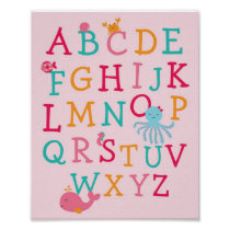 Pink Under the Sea Alphabet Nursery Wall Art