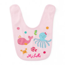 Pink Under the Sea Baby Bib