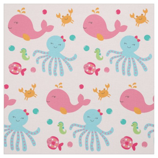 Pink under the sea baby nursery fabric zazzle for Pink nursery fabric