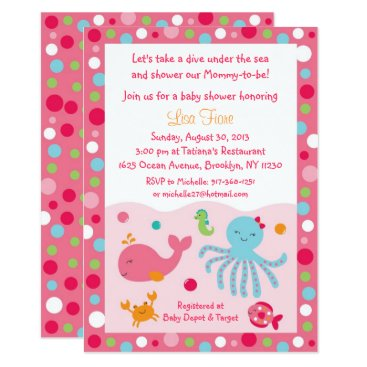 Toddler & Baby themed Pink Under the Sea Baby Shower Card