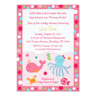 "Pink Under the Sea Baby Shower Invitations 4.5"" X 6.25"" Invitation Card"