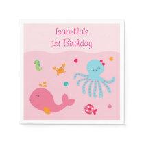 Pink Under the Sea Baby Shower Napkin