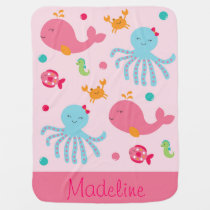 Pink Under the Sea Baby Shower Stroller Blanket