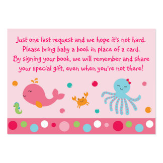 Pink Under the Sea Book Request Cards Large Business Cards (Pack Of 100)