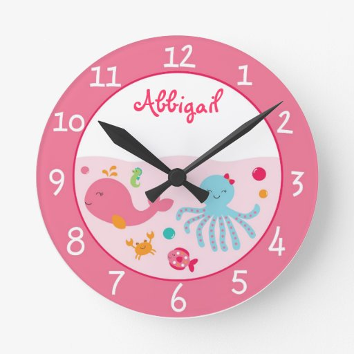 Pink Under The Sea Nursery Round Clock