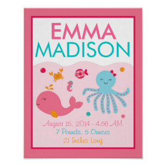 Pink Under the Sea Nursery Wall Art Birth Stats Poster