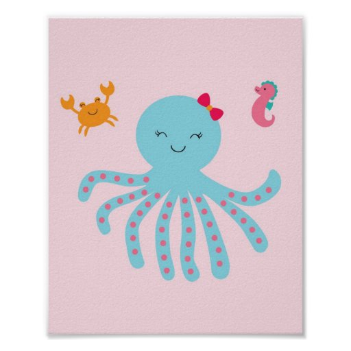Pink Under the Sea Nursery Wall Print