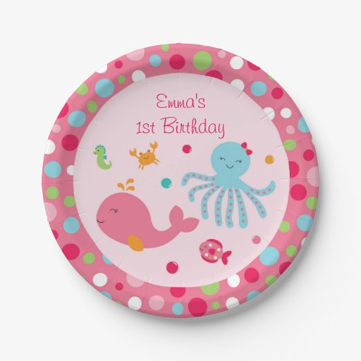 Pink Under the Sea Paper Plates