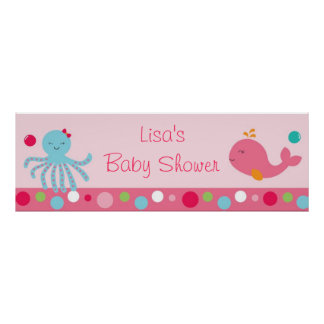 Pink Under the Sea Personalized Banner Poster