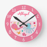 Pink Under the Sea Personalized Clock
