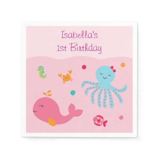 Pink Under the Sea Personalized Napkins