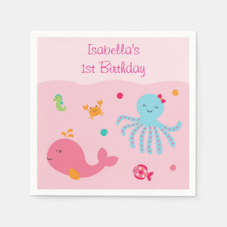 Pink Under the Sea Personalized Napkins Standard Cocktail Napkin