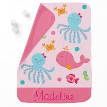 Pink Under The Sea Receiving Blanket