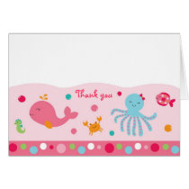 Pink Under the Sea Thank You Note Cards