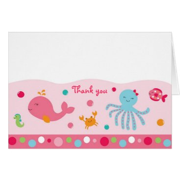 Toddler & Baby themed Pink Under the Sea Thank You Note Cards
