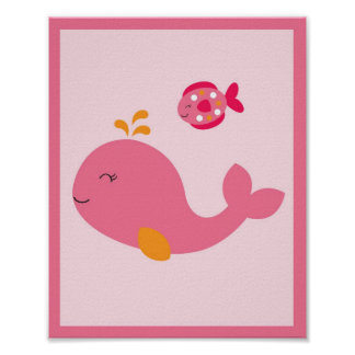 Pink Under The Sea Whale Poster