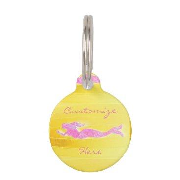 Beach Themed pink underwater  mermaid pet tag
