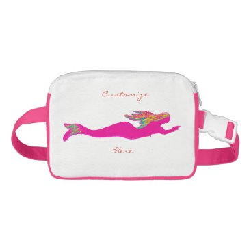 Beach Themed pink underwater mermaid Thunder_Cove Waist Bag