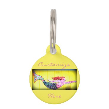 Beach Themed pink underwater mosaic mermaid pet name tag