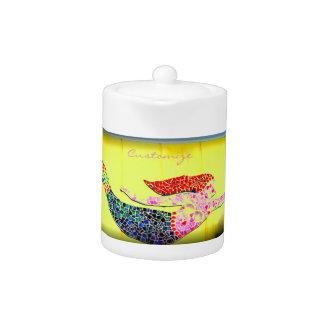pink underwater mosaic mermaid yellow teapot