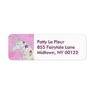 Pink Unicorn address label
